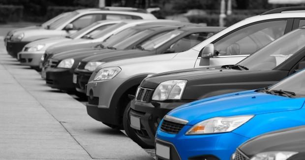 Fleet parked blue car