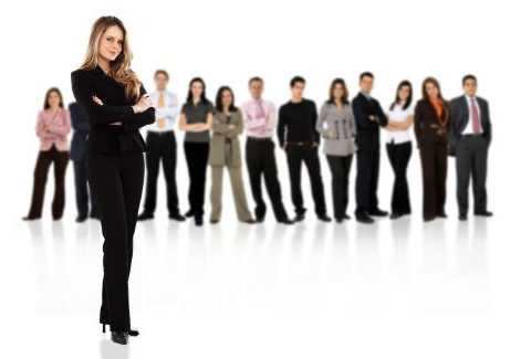Employees standing in a row